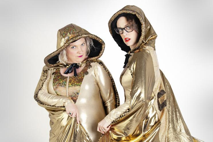 Two scummy mummies dressed in golden glam