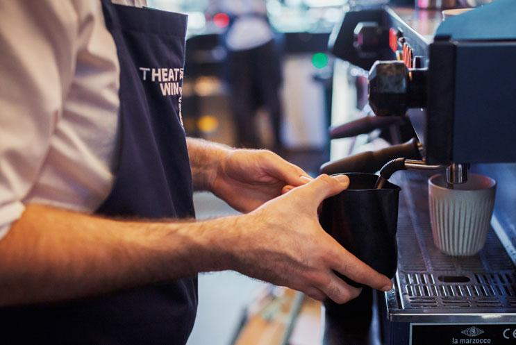 Coffee being made at a coffee machine