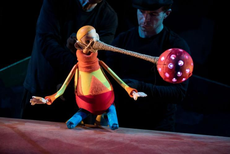 A puppet with a luminous nose