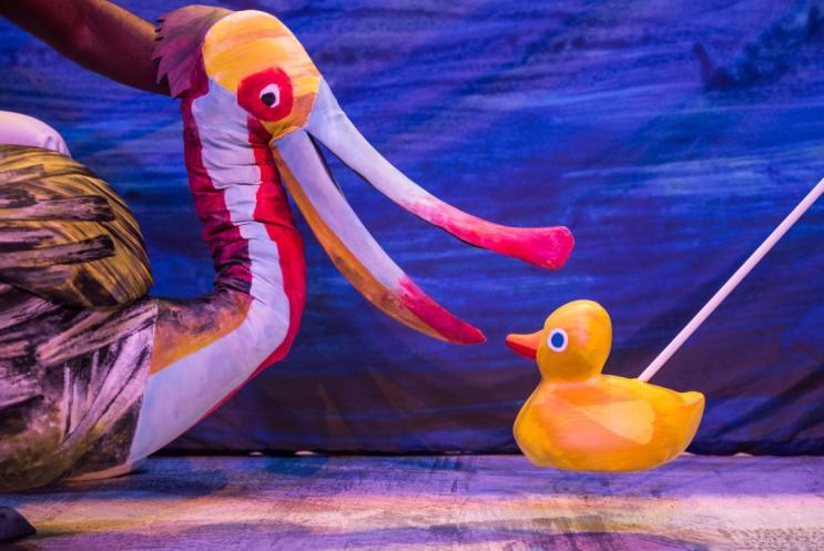 Pelican and duck puppet on stage
